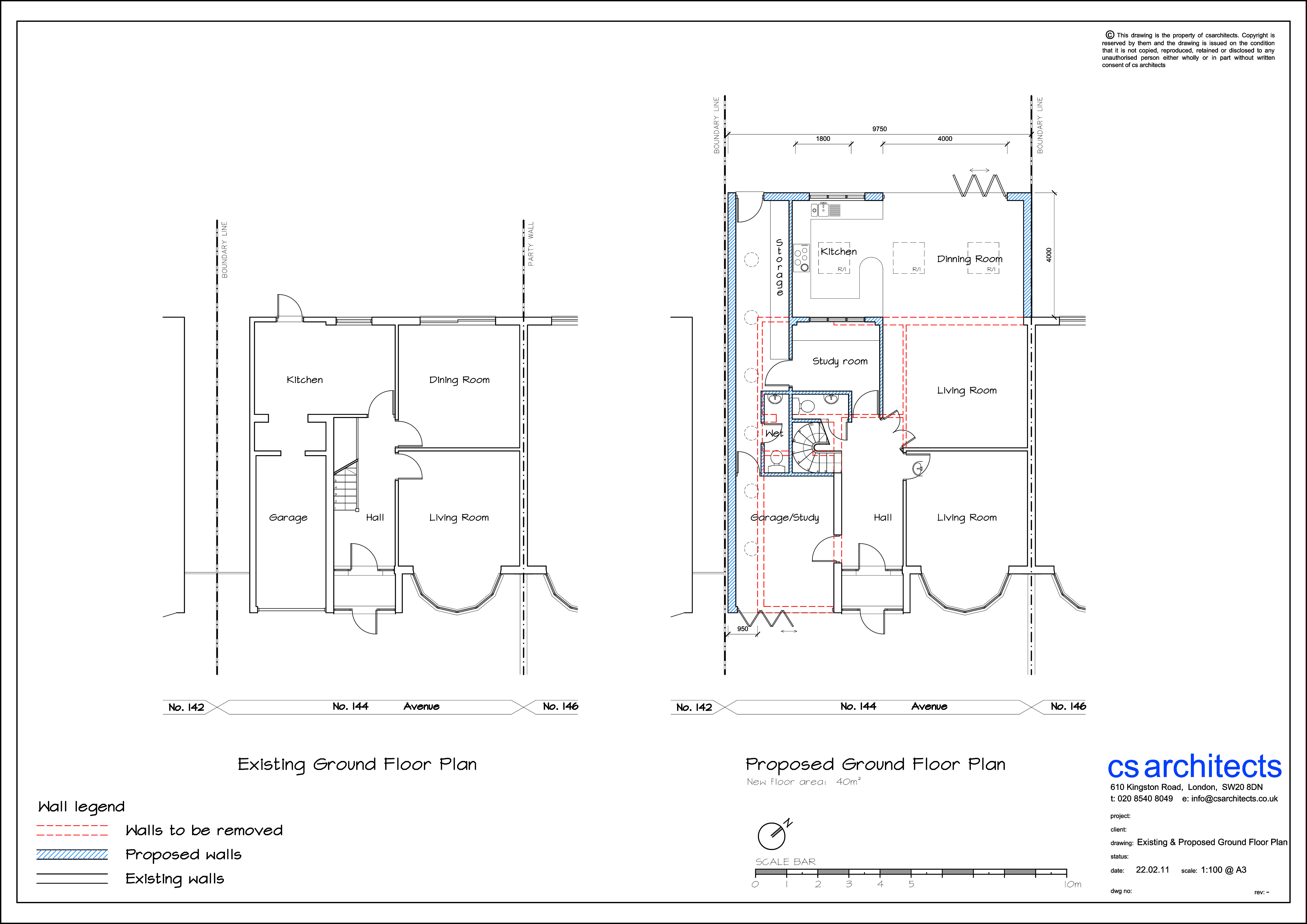 existing and proposed ground floor plan planning application surrey united kingdom - Floor Plan Application