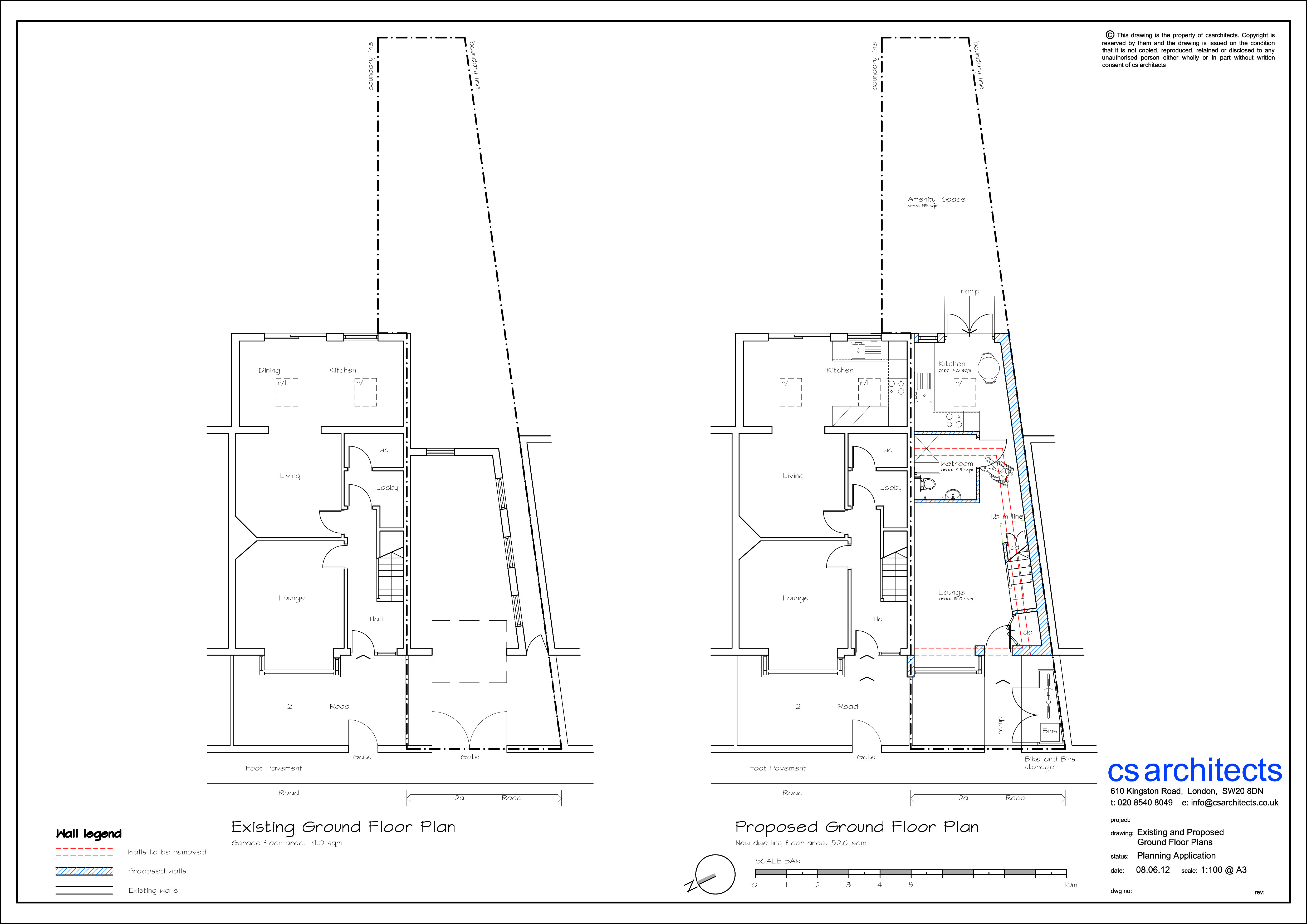 existing and proposed ground floor plan suitable for person with disabilities planning application harlesden united kingdom - Floor Plan Application