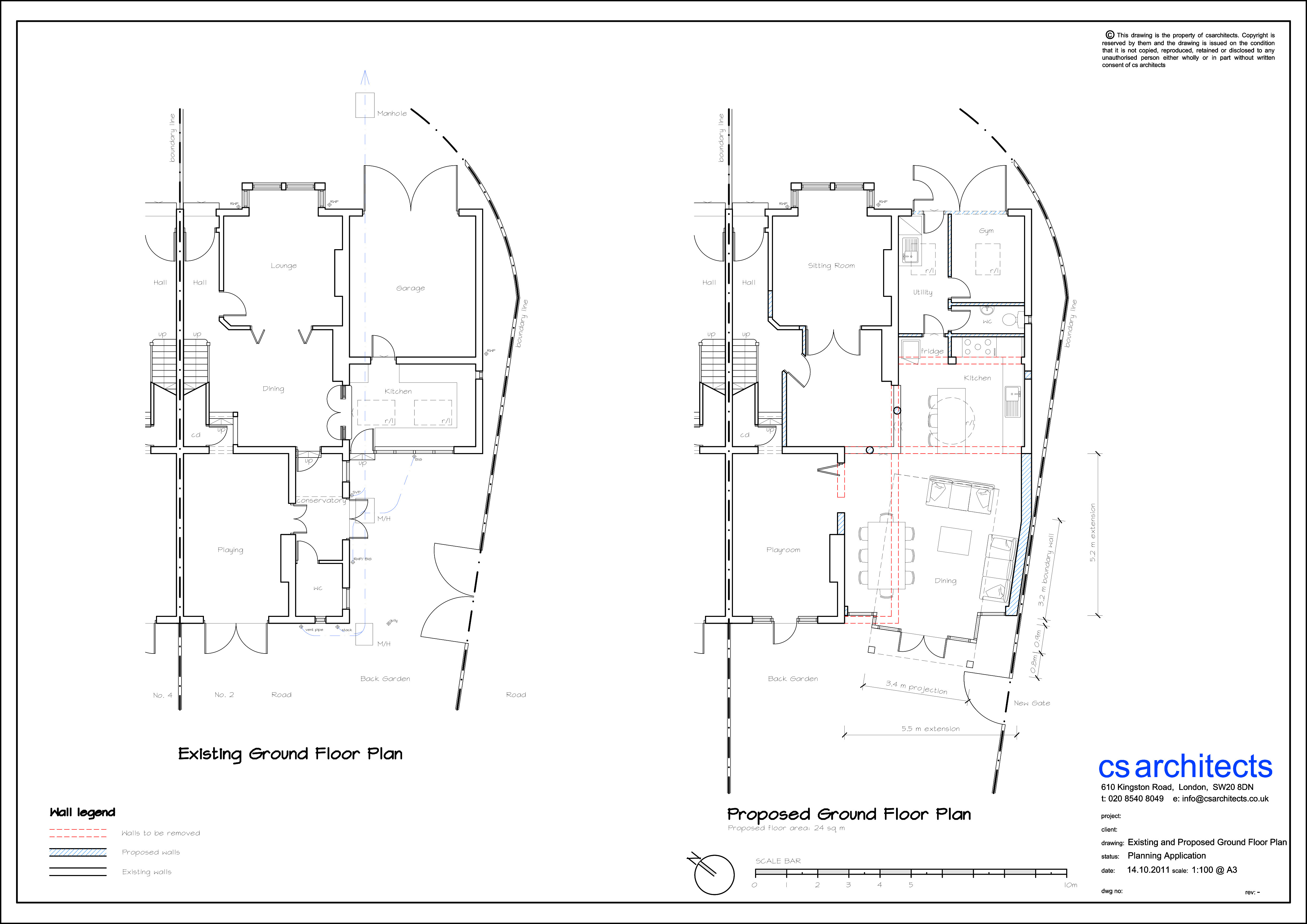 existing and proposed ground floor plan planning application wimbledon united kingdom - Floor Plan Application