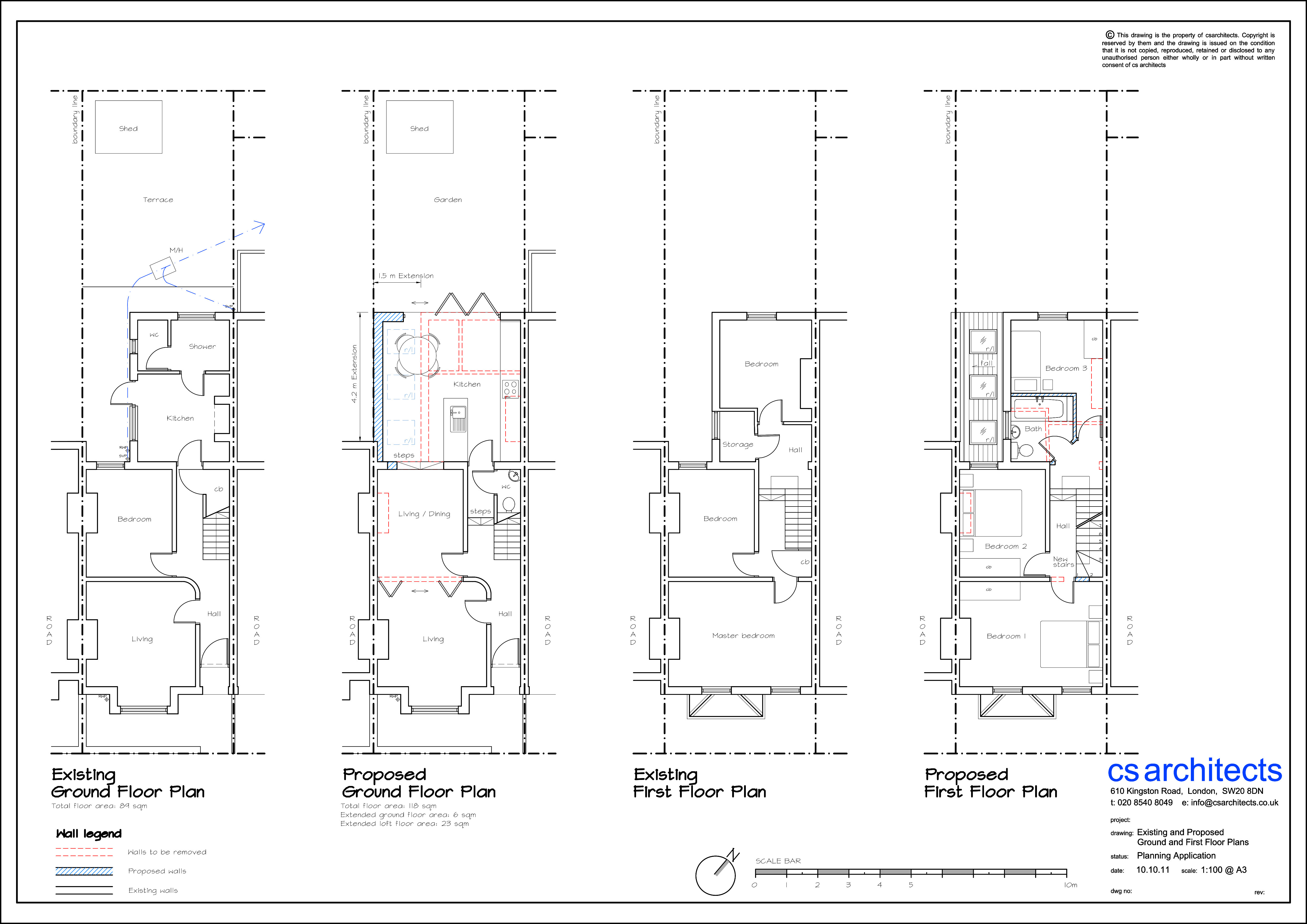 existing and proposed ground and first floor plan planning application wimbledon united kingdom - Floor Plan Application